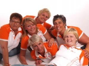 Het huidige Vrijwillgersteam met vlnr: Leny, Linda, Mariska, Lenie, Henny en Diane